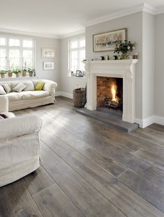 Bespoke Natural Grey Engineered Oak from Reclaimed Flooring Co www.c… Bespoke Natural Grey Engineered Oak from Reclaimed Flooring Co www. My Living Room, Home And Living, Small Living, Cozy Living, Living Room Flooring, Gray Living Room Walls, Kitchen Flooring, White Living Rooms, Living Room Paint Colors