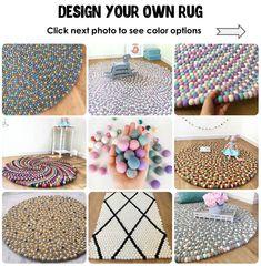 PURE WHITE RUG 100/% Wool Round Felt Ball Freckle Nursery Pom Pom Handmade