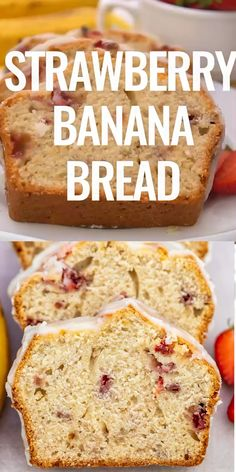 bread recipes sweet Strawberry Banana Bread is like a smoothie in solid form! It is refreshingly sweet, moist, perfect for summer, and just a great way to enjoy these fruits! Köstliche Desserts, Delicious Desserts, Dessert Recipes, Dessert Bread, Bread Cake, Fruit Bread, Strawberry Recipes, Recipe For Strawberry Banana Bread, Strawberry Zucchini Bread