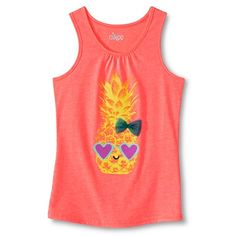Girls' Glitter Pineapple Graphic Tank