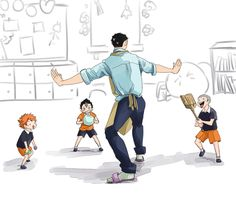 Daichi with little Hinata, Tanaka, and Nishinoya. ....I see no difference except in Tanaka's height.