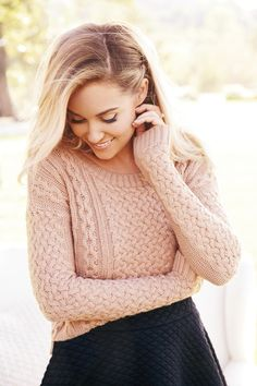Add interest to a cable-knit sweater with a textured skirt. LC Lauren Conrad at #Kohls #Kohls