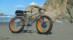 Custom built titanium fat bike with front crystalyte hub motor.
