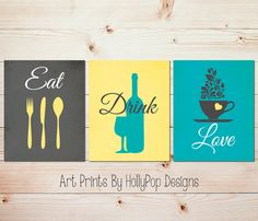 Teal gray decor - Kitchen print set - Wine glass art - Coffee cup art - Kitchen utensils art - PLEASE NOTE: These are NOT canvas prints. ❤Set of 3 UNFRAMED Art prints. Prints are printed on professional grade luster paper. Look AMAZING when framed!  Everything is completely customizable!  ❤How to customize: 1. Choose your desired size 2. Click on ADD TO CART 3. Leave your requests in the NOTES TO SELLER box before you complete purchase. A proof will be sent before going to print and…