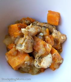 Perfect crockpot meal for Autumn! Crockpot Apple Chicken with Sweet Potatoes-- I added some apple juice because it seemed too dry- tastes just like fall! Great for toddlers too.
