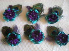 6 bridesmaids' purple turquoise flower hair by DressMyWedding, $55.00