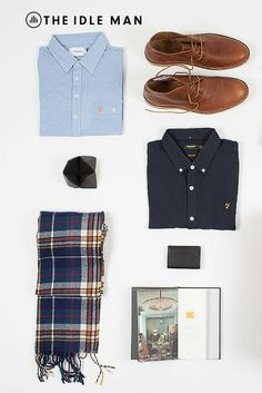 Men's style outfit grid | Looking for a new work look? Go for a Farah polo shirt, Hudson boots, Happy Socks and a good book for the daily commute. Shop men's clothing and accessories at The Idle Man