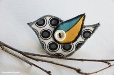 Vogel, Bird, Stoff, Fabric, Brosche, Anstecker, Brooch,