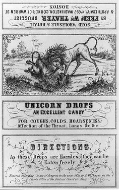Unicorn drops advertising quack medicine label. They  can be eaten freely because it's simply hard candy. Ha.