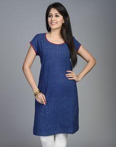 Fabindia.com | Cotton Printed Scoop Neck Gudri Mini Kurta