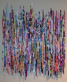 Rolled Magazine Art, Magazine Wall Art, Recycled Magazine Crafts, Recycled Magazines, Rolled Paper Art, Paper Quilt, Arts And Crafts, Paper Crafts, Paper Wall Art