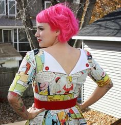 """Gertie's New Blog for Better Sewing: The """"Home Sewing Is Easy"""" Novelty Print Dress. I love Gertie's modification of the back neckline/closure. Brilliant."""