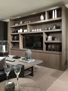 Tv wandkast Ref 2 Living Room Trends, Living Room Inspiration, Home Living Room, Interior Design Living Room, Living Spaces, H Design, House Design, Living Room Wall Units, Home Entertainment Centers