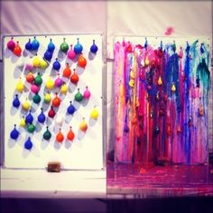Balloon board filled with paint on canvas- guests throw darts at balloons and you keep canvas for artwork in your house.