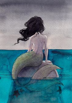 mermaids @Alyssa Sanchez paint this one!  don't love the color scheme but i like the hair and tail