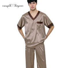 Click to Buy    Tinyear 2017 Men s Pajama Set Summer Brand Design Luxury.    64b253cb9