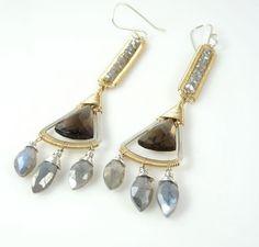 Dramatic Gemstone Earrings boho dangle by mariasjewelrydesigns, $310.00