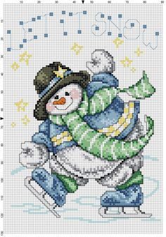 Snowman Let it Snow ... no color chart available, just use pattern chart as your color guide.. or choose your own colors...   (this is NO LONGER Available on etsy)...    Let+It+Snow+Snowman+Counted+Cross+Stitch+Pattern+by+Berwickbay