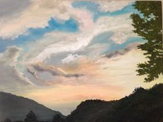 Sunset Reems Creek, spring 2014— 30x36 oil on canvas, $350-framed