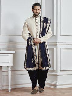 Off White Groom Indo Western, mens fashion, fashion for men, indowestern, groom, sherwani, weddingwear, partywear, designer, mensgroom, indian ethnic, ethnicwear, mensethnic
