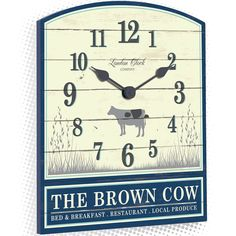 Buy London Clock Company The Brown Cow Wall Clock, Cream and Navy from our Clocks range at John Lewis & Partners. Silver Anniversary Gifts, London Clock, Black Clocks, Kitchen Wall Clocks, Rustic Feel, Bed And Breakfast, Farm Animals, Summer Days, Signage