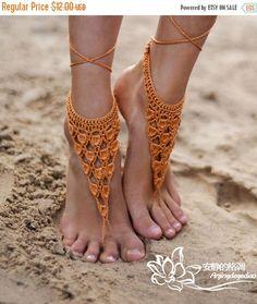 Crochet Barefoot Sandles, Foot jewelry, Wedding, Crochet Sandals et item 1050 by mooncakeshop