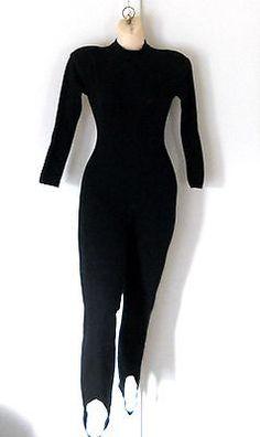 Black Bodysuit Women Small Unitard One Piece Cat Suit Long Sleeve Costume 80s