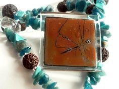 Collar de piedras mariposa - Azul turquesa - Etnic de BGLASSbcn por DaWanda.com