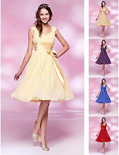 Knee-length Chiffon Bridesmaid Dress - Daffodil / Ruby / Grape / Royal Blue / Champagne Plus Sizes / Petite A-line / Princess V-neck
