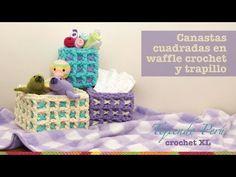 Canastas o cestas cuadradas en waffle crochet XL con trapillo o T-shirt yarn (Parte 1) - YouTube