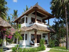 Palm Garden Amed Beach & Spa Resort Bali Bali, Indonesia on Home Inteior Ideas 4053 Bamboo House Design, Tiny House Design, Tropical Beach Houses, Hut House, Palm Garden, Casa Loft, Jungle House, Beach Bungalows, Villa Design