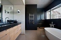 Villa: Masculine Bathroom Design Ideas With Black Ceramic Walls Also Sleek White Freestanding Bathtub With Standing Faucets Also Flaoting Wo...