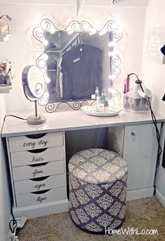 A tutorial on how I modified my corner makeup vanity to one that would fit in my. - - A tutorial on how I modified my corner makeup vanity to one that would fit in my closet. Source list inc. Corner Makeup Vanity, Diy Vanity Mirror, Diy Makeup Vanity, Vanity Room, Vanity Ideas, Makeup Vanities, Mirror Ideas, Makeup Vanity Tables, Closet Vanity