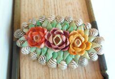 Vintage Seashell Brooch Flowers Pink by vintagebytheseashore