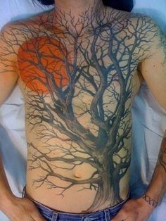 Stunning, full front tree with a setting/rising sun. I may have to do this one on a smaller scale on my thigh