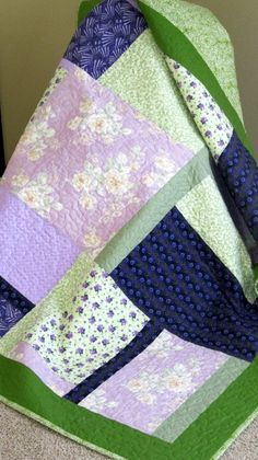 Purple/Violet/Green/Cream Modern/Contemporary by MagnoliaQuilts, $104.00