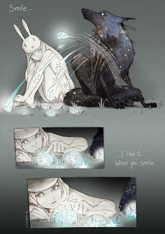 Smile by Chiara Bautista. Another lovely work of the bunny girl and the wolf love the effect of the glow from the stars