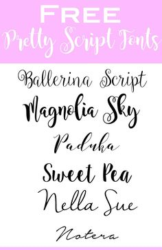 Free Pretty Handwriting Fonts