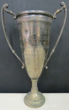 "Antique 1937 Baseball Loving Cup Trophy 12"" Tall Silver Plate"