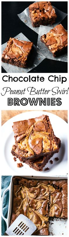 Seriously amazing: Chocolate Chip Peanut Butter Swirl Brownies - Rich, fudgy brownies with a crackly peanut buttery top. 13 Desserts, Chocolate Desserts, Delicious Desserts, Yummy Treats, Sweet Treats, Yummy Food, Peanut Butter Swirl Brownies, Peanut Butter Recipes, Peanut Brownies