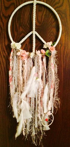 Perfect Peace Sign Dream Catcher or Dreamcatcher / Braided White Leather / Rose Buds / Vintage Material / White Feathers / Lady Bug Catcher Fun Crafts, Diy And Crafts, Arts And Crafts, Dreamcatchers, Perfect Peace, Rose Buds, Wind Chimes, Diy Gifts, Feather