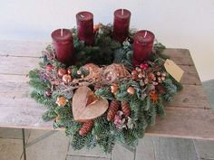 Advent wreath - Advent wreath XXL fresh noble copper cones - a unique product by fleuromantic on DaWanda. Christmas Advent Wreath, Christmas Sewing, Christmas Time, Christmas Crafts, Christmas Decorations, Holiday Decor, Craft Day, Christmas Traditions, Diy And Crafts