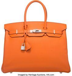 "Hermes 35cm Orange H Epsom Leather Birkin Bag with PalladiumHardware. Q Square, 2013. Excellent Condition. 14""Wi..."