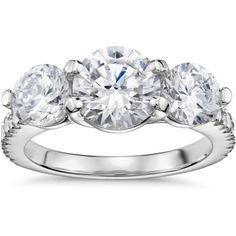 Blue Nile Three-Stone Petite Pav Trellis Diamond Engagement Ring ($1,320) ❤ liked on Polyvore featuring jewelry, rings, weddings, 3 stone diamond ring, diamond engagement wedding rings, 3 stone ring, diamond jewelry and engagement & wedding rings