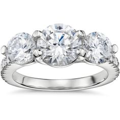 Blue Nile Three-Stone Petite Pav Trellis Diamond Engagement Ring ($1,490) ❤ liked on Polyvore featuring jewelry, rings, weddings, engagement rings, blue nile, blue nile rings, three stone engagement rings and diamond jewelry