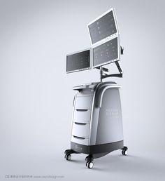 oscn design cart with 3 screens Id Design, Prop Design, Medical Design, Healthcare Design, Small Space Interior Design, Interior Design Living Room, Dental, Medical Equipment, Machine Design
