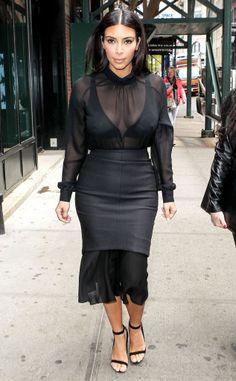 Kim Kardashian dons an all-black ensemble to hit the streets of New York!