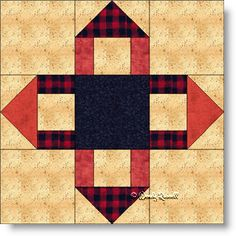 A simple nine patch offering an optical illusion of folded pieces of fabric.