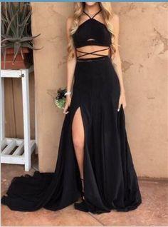 Stylish Black Slit Two Pieces Straps Long Party Dresses e1960f24f2cd