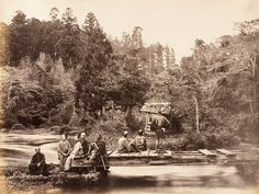 A photo thought to have been taken during the Edo period (sometime in the 1860s) and originally captioned by photographer Felice Beato as: Garden and House of the High Priest of Fusi-yama at Omia. The Venice-born photographer travelled extensively during his career, photographing the Crimean war, the aftermath of the Indian Mutiny and the second Opium War. He settled in Japan from 1863 to 1884 and his body of work is considered to be one of the finest collections of early photojournalism